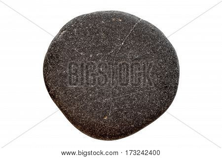 Round Black Stone Isolated On A White Background