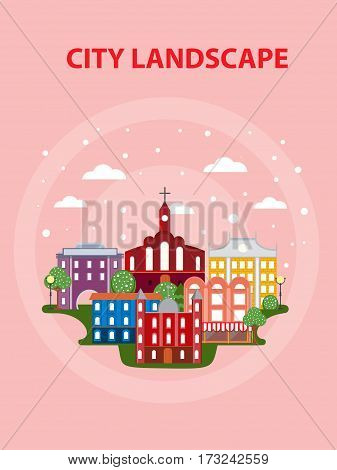 Flat urban city poster with municipal and living buildings trees and sky on light background vector illustration