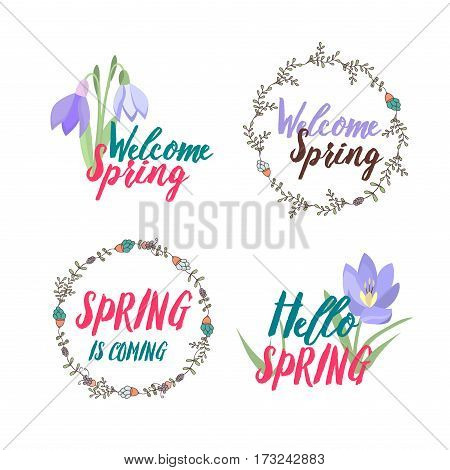 Spring typographic flower design. Vector elements with spring quotes flowers nature wreath frame heart and spring logo badge. Good for greeting cards, sale badges, scrapbook and logos.