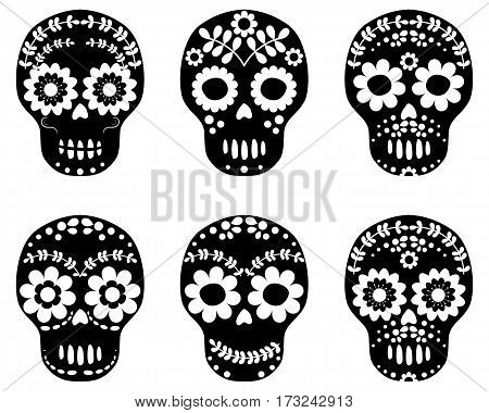 Black and white floral sugar skulls cute designs in flat style