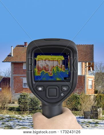 Thermal Image of Heat Leak from Raw Facade Wall
