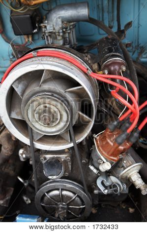 The old automobile engine with air cooling poster
