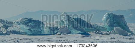 Bloks of ice on Baikal lake March 2013