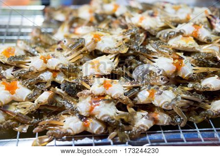 Fresh egg crabs in seafood market Thailand