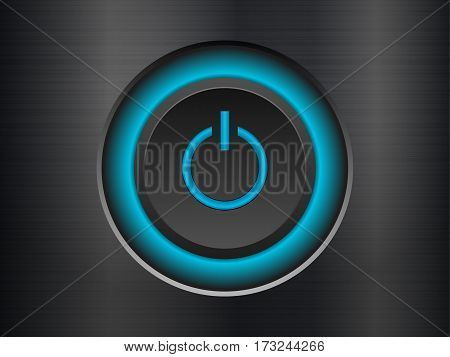 Power button knob on a metal background.