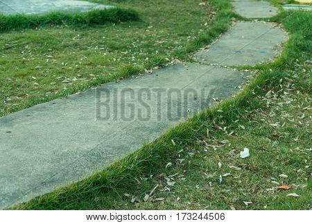 Stone Walk Way , Sidewalk, Pathways In The Green Park