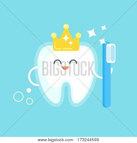 Vector flat style illustration of happy tooth with crown. Icon for web. Isolated on white background.