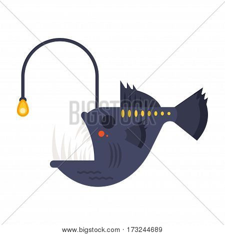 Vector flat style illustration of angler fish. Icon for web. Isolated on white background.