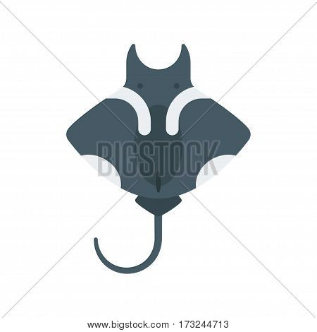 Vector flat style illustration of stingray. Icon for web. Isolated on white background.