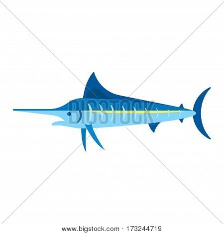 Vector flat style illustration of marlin. Icon for web. Isolated on white background.