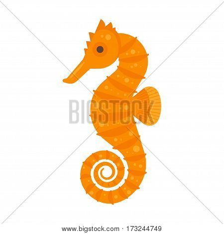 Vector flat style illustration of sea horse. Icon for web. Isolated on white background.