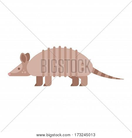 Vector flat style illustration of armadillo. Icon for web. Isolated on white background.