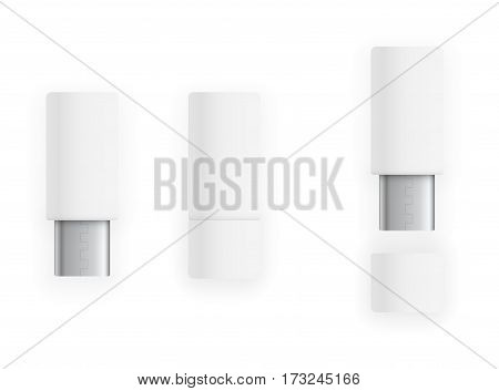 USB 3.0 Type C white colored pen drive flash disk. Vector illustration top view