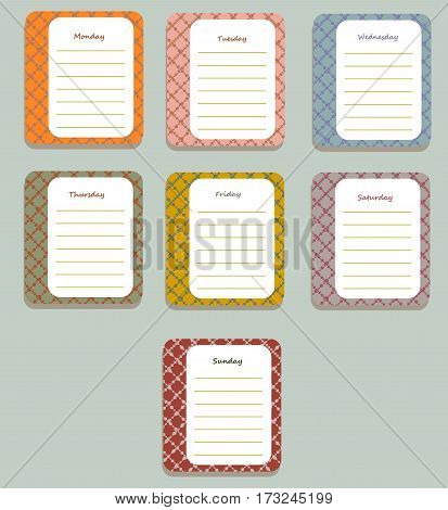 The sheets of the planner for weekly planning in a pretty patterned box with the names of the days of the week. Diary.Vector illustration.