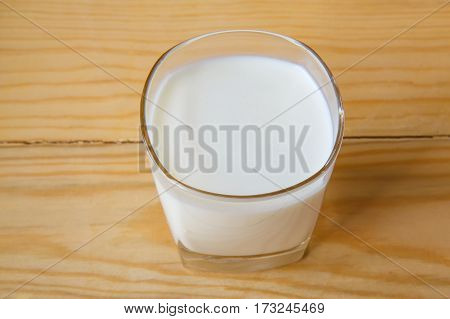 milk glass on wooden table backgruond. Healthy eating concept