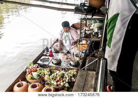 Bangkok Thailand 03.10.2015 Taling chan the traditional floating market local people selling fresh food and goods