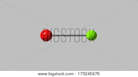 Bromine monochloride or bromochloride is an interhalogen inorganic compound with chemical formula BrCl. 3d illustration