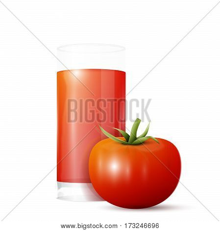 A glass of tomato juice and tomato. Vector illustration, EPS 10