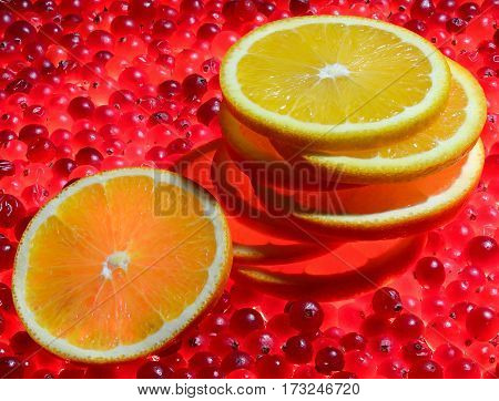 a bunch of eight round slices of oranges lying on each other Mature red cranberries that glow like the coals of a campfire