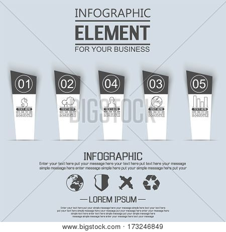 ELEMENT FOR INFOGRAPHIC TEMPLATE GEOMETRIC FIGURE STIKER NUMBER OPTION THIRD EDITION BLACK