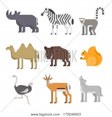 Vector flat style set of animals. Rhinoceros, wolf, lemur. Icon for web. Isolated on white background.