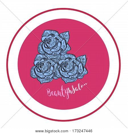 Elegant rose logo for beauty salon. Modern pink. Scetch. Vector