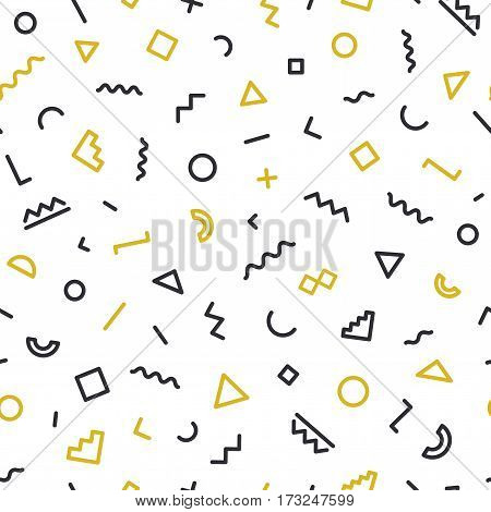 Memphis seamless pattern on white background. Hipster memphis style. Trendy memphis style. Geometric seamless pattern different shapes black and gold color. Vector Illustration