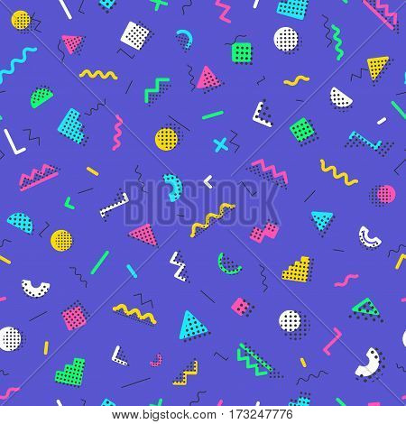 Geometric memphis seamless pattern styles on lilac background. Trendy memphis style. Colorful geometric seamless pattern different shapes color style. Hipster memphis style. Vector Illustration