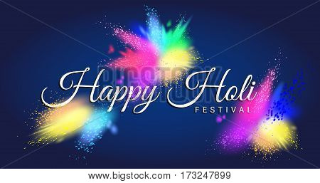Happy Holi festival test with beautiful colorful Gulal