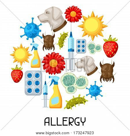 Allergy. Background with allergens and symbols. Vector illustration for medical websites advertising medications.