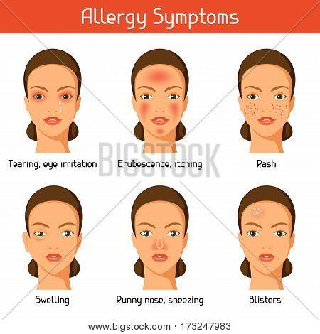 Allergy symptoms. Vector illustration for medical websites advertising medications.