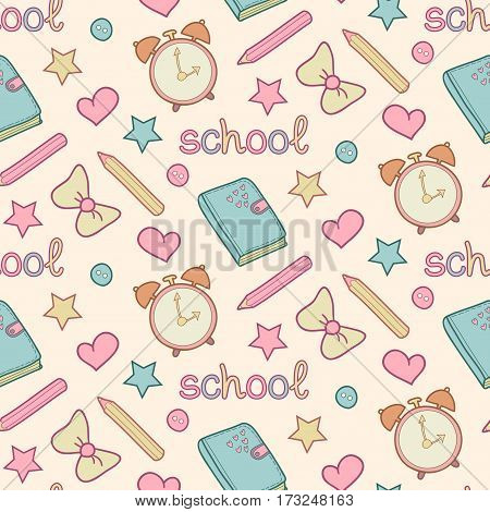 Vector cute school seamless pattern with diary, alarm clock, colored pencils, bow, heart, star. Cute school background