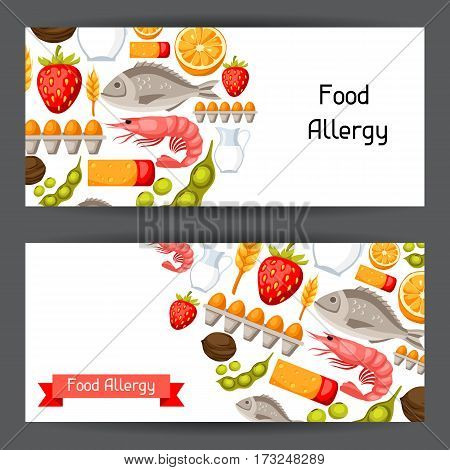Food allergy banners with allergens and symbols. Vector illustration for medical websites advertising medications.