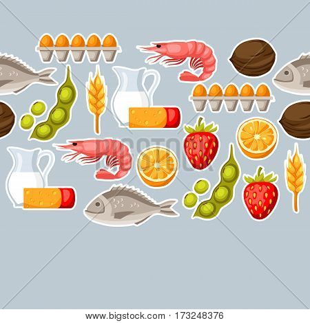 Food allergy seamless pattern with allergens and symbols. Vector illustration for medical websites advertising medications.