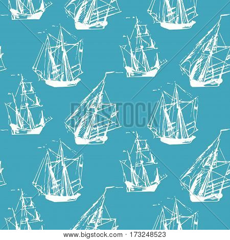 Vector seamless pattern of sailing ships in the sea in ink line style. Hand drawn boats endless background