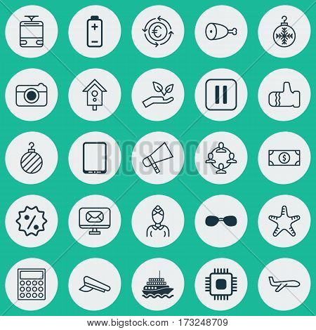 Set Of 25 Universal Editable Icons. Can Be Used For Web, Mobile And App Design. Includes Elements Such As Summer Glasses, Fried Poultry, Yacht And More.