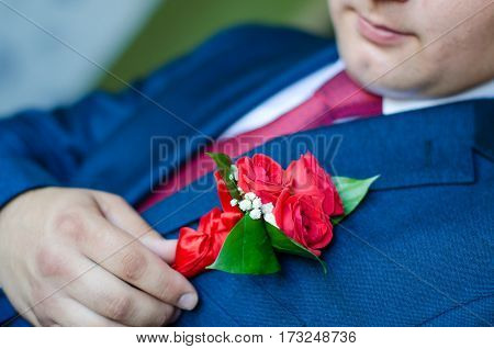 man in a dark blue suit corrects hand of a red rose boutonniere. groom preparation