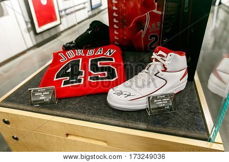 New York February 21 2017: Michael Jordan signed commemorative items for sale are displayed in the NBA store in Manhattan.