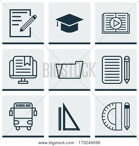 Set Of 9 School Icons. Includes Taped Book, Document Case, Paper And Other Symbols. Beautiful Design Elements.