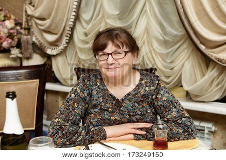Portrait of a senior woman in restaurant