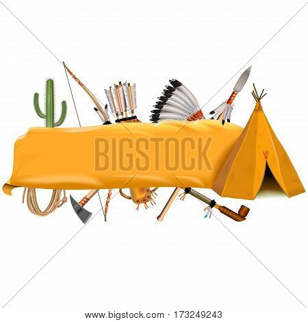 Vector Indian Banner isolated on white background
