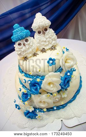 three tiered blue and white wedding cake with confectionery roses and funny figures