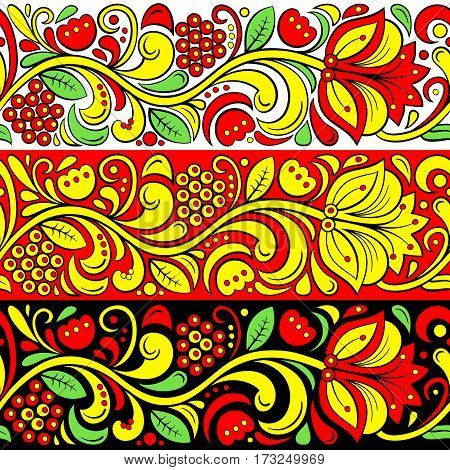 Traditional Russian vector seamless pattern in khokhloma style. Hohloma Russian folk native ornament