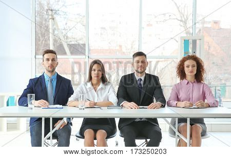 Job interview concept. Human resources commission in modern office