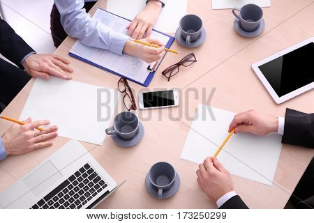 Job interview at table in modern office