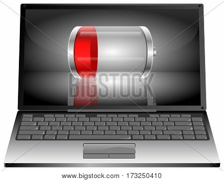 silver Laptop computer with red Battery - 3D illustration