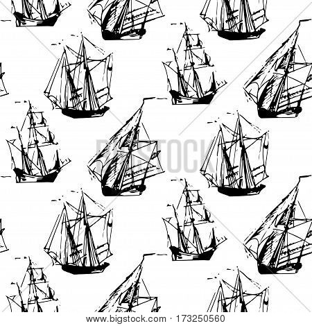 Vector seamless black and white pattern of sailing ships in the sea in ink line style. Hand drawn boats endless background