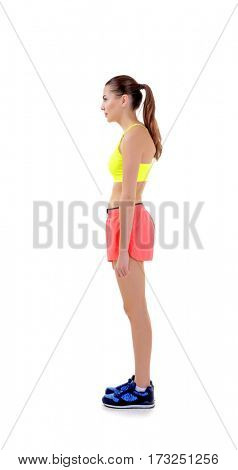 Incorrect posture concept. Young woman isolated on white