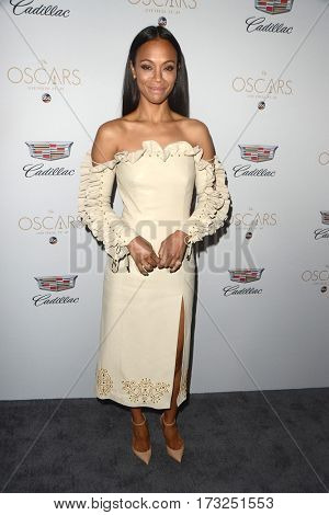 LOS ANGELES - FEB 23:  Zoe Saldana at the Cadillac Hosts their Annual Oscar Week Soiree at the Chateau Marmont on February 23, 2017 in West Hollywood, CA
