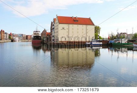 Gdansk Poland - 8 May 2015: The building of the Central Maritime Museum is located on the river Moltava.